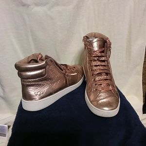Ugg metallic leather rose gold high top sneakers